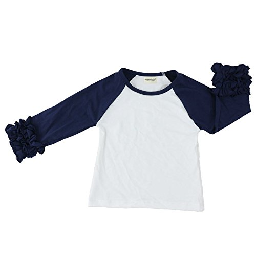 Wennikids Little Girls' Long-Sleeve Ruffle T-Shirt Large Navy Blue/White