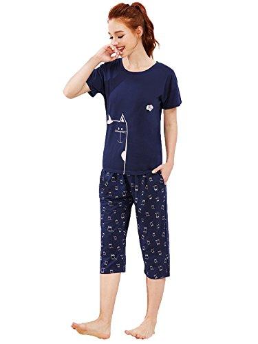 eb78b1c39e Jual SheIn Women s Cartoon Print Tee and Capri Pants Pajama Set ...