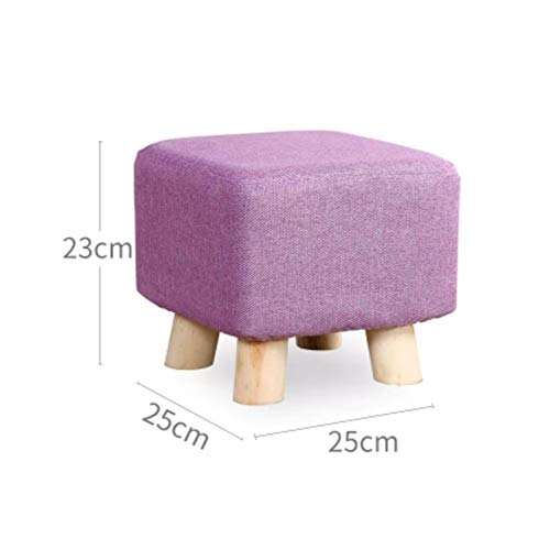 JiaQi Ottoman Bench,Creative Foot stools,Cloth Sofa Stool Adults and Kids Small Bench Solid Wood Change Shoe Bench-L 25x25x23cm(10x10x9inch) by JiaQi (Image #3)