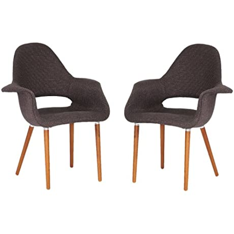 Baxton Studio Forza Fabric Mid Century Modern Arm Chair Dark Brown Set Of 2