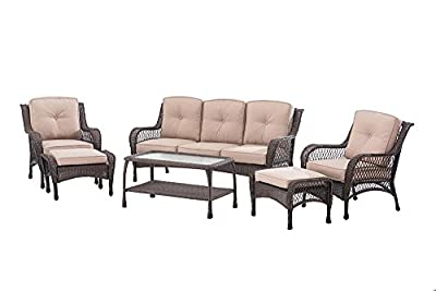 Sunjoy D-DN1586SST 6 Piece Adam Deep Seating Set, Brown