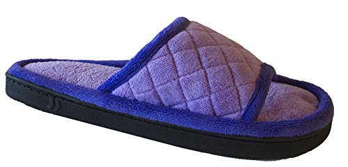 Isotoner Women's Fleece Maddie Slide, Purple Paisley, 9.5-10