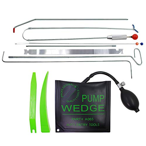 SUNTUE Car Essential Kit with Long Reach Tool,2 Connect Rods,Air Pump Bag,Non Marring wedges,Professional Tools for Cars and Trucks