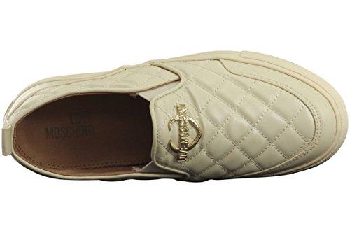 Amour Moschino Womens Matelassé Métal Logo Ivoire Mocassins Chaussures
