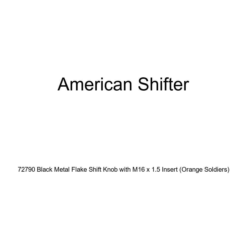 American Shifter 72790 Black Metal Flake Shift Knob with M16 x 1.5 Insert Orange Soldiers