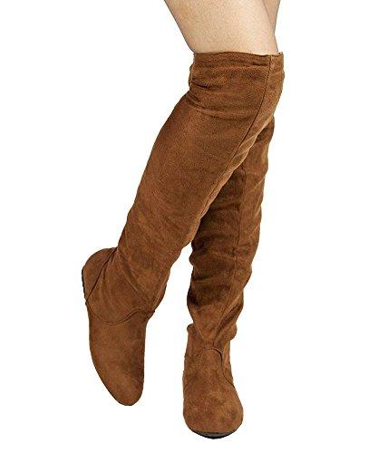 RF RAUM DER MODE Trend-Hi Over-the-Knee Oberschenkel hohe flache Slouchy Welle Low Heel Stiefel Premium Kamel Wildleder