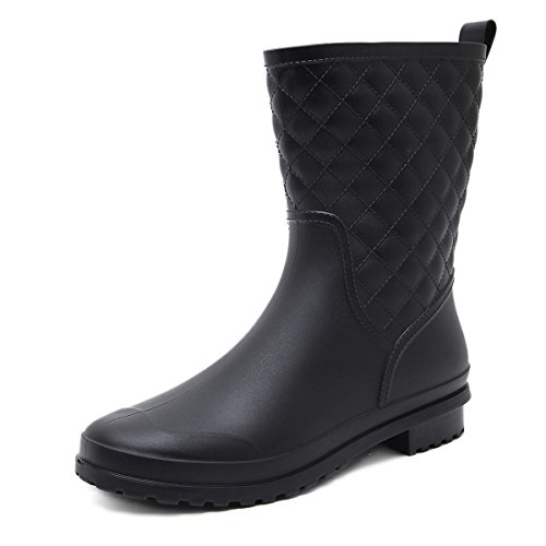 Asgard Women's Mid Calf Rain Boots Waterproof Rubber Booties BK38 Black (Best Farm Rubber Boots)