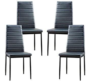 POLY BARK EM-285-BLK-X4 Stein Vegan Leather Dining Chair, Set of 4 Black