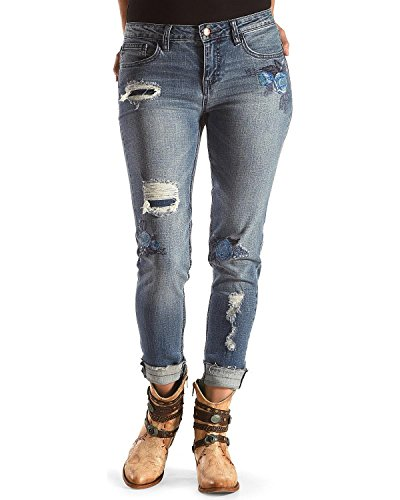 Picture of Women Floral Embroidery Jeans