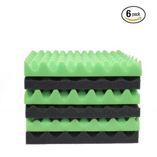 6 Pack Green/Charcoal Eggcrate Acoustic Foam Sound Proof Foam Panels Noise Dampening Foam Studio Music Equipment 1.5'' x 12'' x 12''
