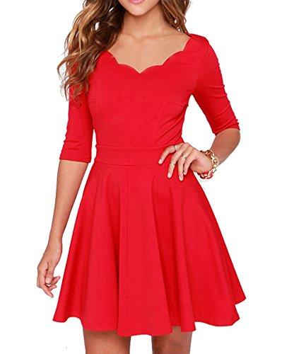 Valentines Day Dress (Tengo Women Slim Flared Tunic Corrugated Neckline Dress (XL, Red))