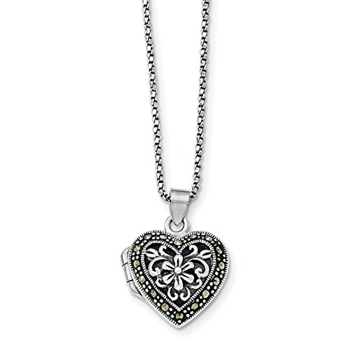 Marcasite Heart Locket Pendant - ICE CARATS 925 Sterling Silver Marcasite Heart Locket Chain Necklace Pendant Charm W/chain Fine Jewelry Ideal Gifts For Women Gift Set From Heart