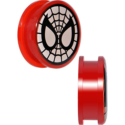 Officially Licensed Marvel Comics Red Acrylic Spiderman Screw Fit Plugs Set 25mm