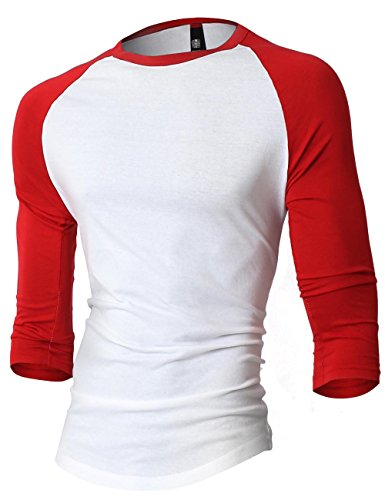 - HC Mens Baseball Raglan 3/4 Sleeve T Shirt (Medium, White/Red)