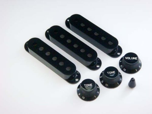 (MIJ Knobs and Pickup Covers Set for Stratocaster Black fa-st7mm-blk)