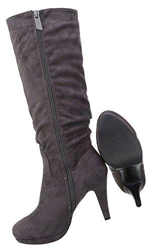 Damen Schuhe Stiefel High Heels Grau