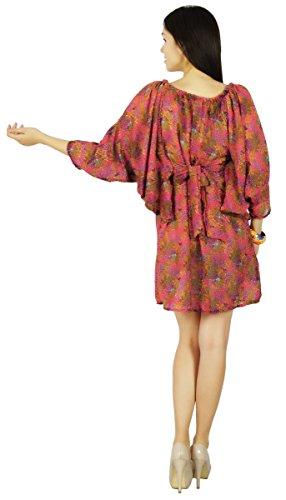 Rosa Kurti Casuali Vestito Tunica Verde Usura Spiaggia Donne Di E Hippie Estate Prendisole Floreale pFPwq6