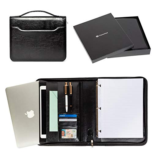 Portfolio Professional PU Leather Binder - Zippered Folio for Business Interview, Or Gift Your Loved Ones - 3 Ring Padfolio Organizer Holds Tablets Up to 12'', Folders, Planner, Resume, For Men & Women by ClassicPad