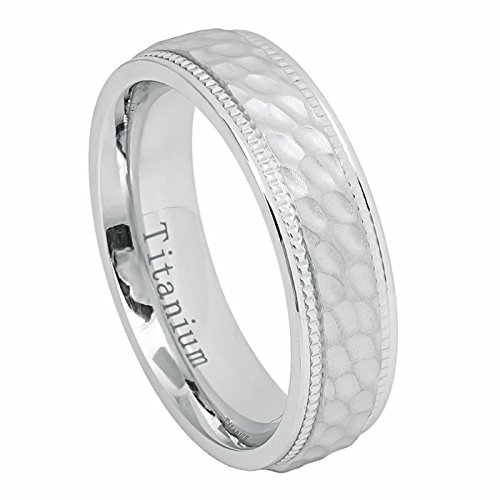 Womens Mens White IP Titanium Wedding Band 6mm Dimpled Hammered Pattern Milgrain Edge Ring Size 10.5