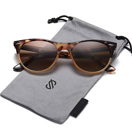 - SOJOS Vintage Polarized Sunglasses for Women Men UV400 Protection Lenses CELEB SJ2076 with Brown Tortoise Frame/Gradient Brown Polarized Lens