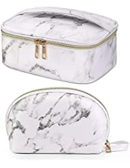 MAANGE 2 Pack Marble Makeup Bag Leather Cosmetic Bag for Women Waterproof Half Moon Handy Organizer Pouch with Gold Zipper Portable Travel Toiletry Bag