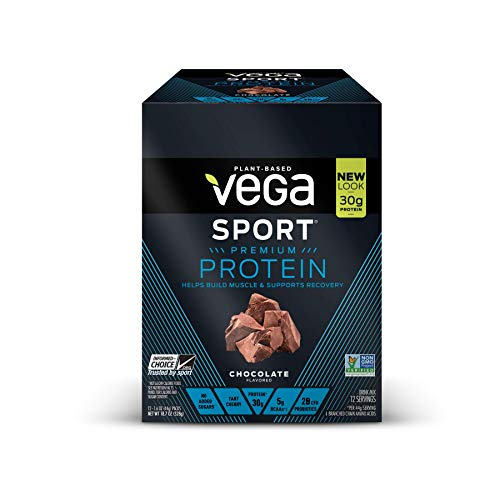 Vega Sport Protein Powder Chocolate (12 Count, 1.6oz packets) - Plant-Based Vegan Protein Powder, BCAAs, Amino Acid, tart cherry, Non Dairy, Keto-Friendly, Gluten Free,  Non GMO (Packaging May Vary)