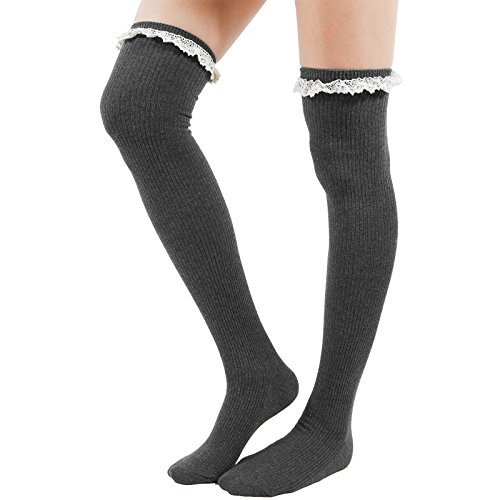 Girl Over-Knee Tight High Socks Women Lace Trim Ribbed Cotton Knit Long Boots (A-Lace-Gray), One Size