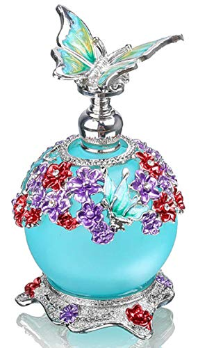 YU FENG Fancy Retro Frosted Blue Restoring Glass Perfume Bottle with Butterfly Stopper Empty Refillable ()
