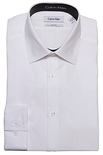 Calvin Klein Tone/Tone Stripe Slim Fit 100% Cotton Solid Dress Shirt - 33T046 (15 32-33, (Calvin Cotton Dress Shirt)