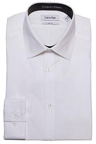 Calvin Klein Tone/Tone Stripe Slim Fit 100% Cotton Solid Dress Shirt - 33T046 (16.5