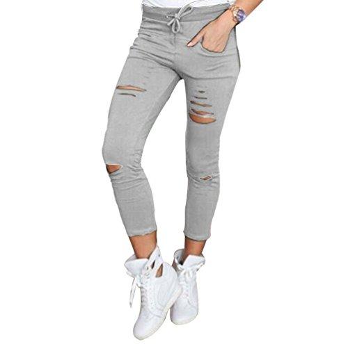 Solido Pantaloni Pantaloni Donna Sportivi Colore Dooxi Strappato Grigio Fit Stretch Sottile Z4PqwU1