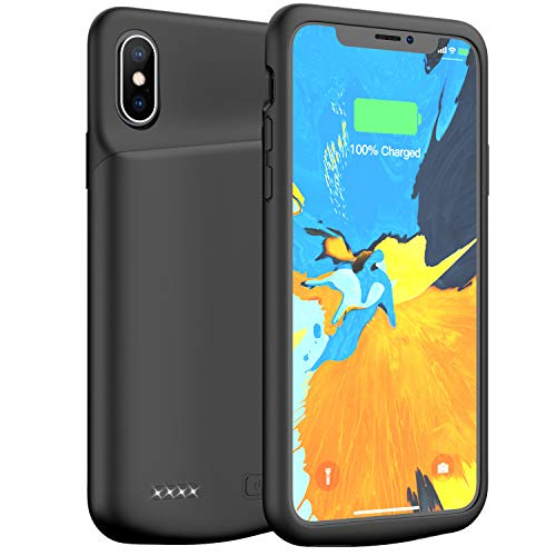 iPhone X/XS / 10 Battery Case, 4000mAh Portable Rechargeable Charging Case Protective Extended Battery Pack Charger Case Compatible with iPhone X/XS / 10(5.8 inch) (Black) ()
