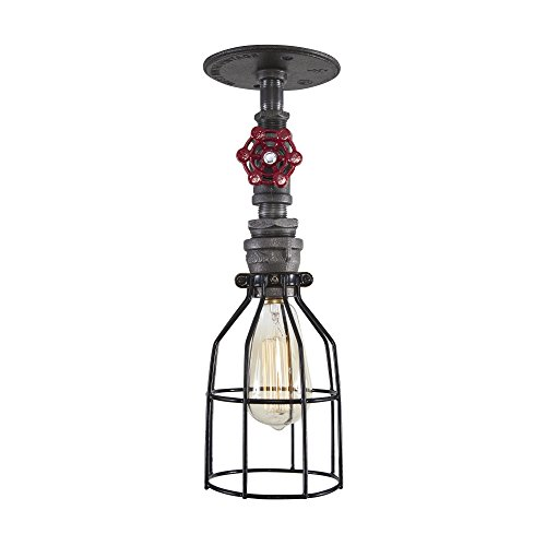 Cheap West Ninth Vintage Iron Single Ceiling Farmhouse Light (Red handle &Cage)