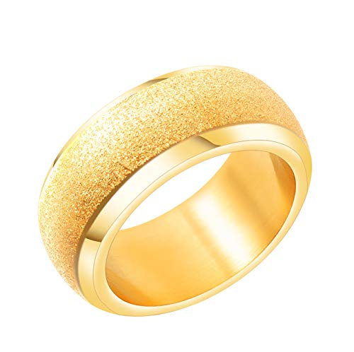 ALEXTINA Men's Stainless Steel Sandblast Finish Gold Plated Wedding Band Vintage Hip Hop Ring Size 9