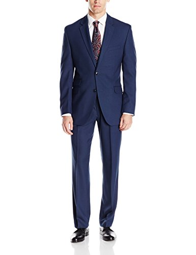 Perry Ellis Men's Slim Fit Suit with Hemmed Pant, Blue, 40 - Suit Fit Blue Slim