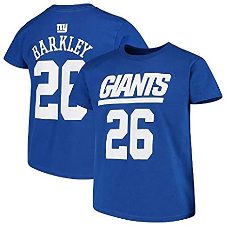 2542b4df90939 Outerstuff Saquon Barkley New York Giants NFL Team Apparel Youth 8-20 Blue  Official Player Name & Number T-Shirt