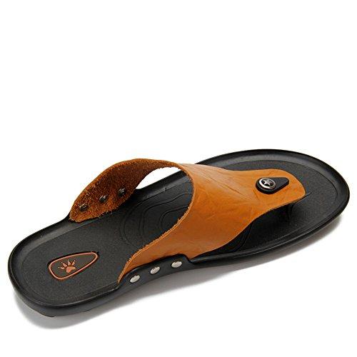 Color Chanclas Banda Zapatos Brown Zapatillas Tanga Size Antideslizantes Brown Suela Casual Genuino Cuero Blanda Sandalias Hombre para Hombre Juans de Ancha de 39 Playa EU shoes 651xqR8w7