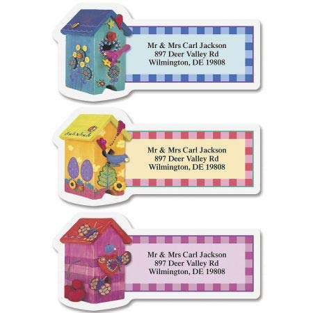 (Colorful Birdhouses Diecut Return Address Labels- Set of 144 Large Self-Adhesive, Flat-Sheet Labels, By Colorful Images)