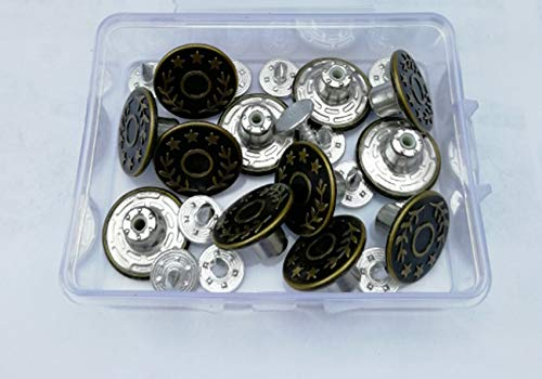 Red Bronze G-Sunny 12 Sets Jeans Buttons Metal Button Snap Buttons Replacement Kit with Rivets and Plastic Storage Box