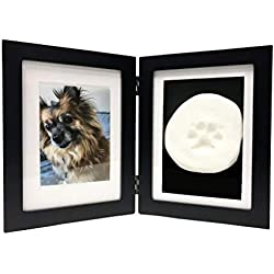 Picture Frame Dog Memorial with Clay Paw Print Kit- Black Hinged