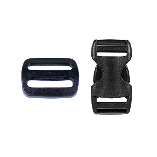 1 Inch Quick Release Buckle Packs - 5 Buckles and 5 Tri-Glides for Buckle Replacement and Repairs