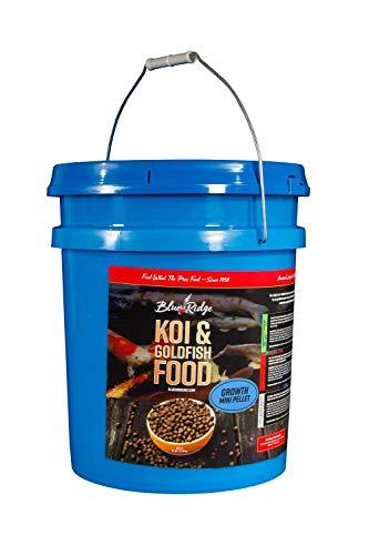 Blue Ridge Fish Food Pellets [14lb], Koi and Goldfish Growth Formula, Mini 1/8 Floating Pellet, Balanced Diet