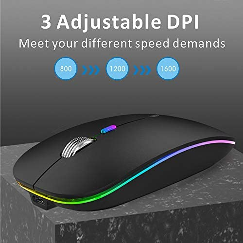 LED Wireless Mouse, Uiosmuph G12 Slim Rechargeable Wireless Silent Mouse, 2.4G Portable USB Optical Wireless Computer Mice with USB Receiver and Type C Adapter (Matte Black)
