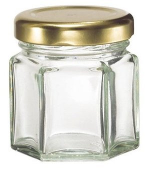 Hexagon Jars Gold Lid (15pcs, 1.5 oz) Hexagon Glass Jars with Gold Plastisol Lined Lids for Jam Honey Jelly Wedding Favors Baby Shower Favors Baby Food DIY Magnetic Spice Jars Crafts Canning Jars