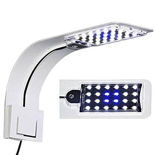 IC INSTANT COACH 10W Super Slim Aquarium Fish Tank 5730 LED Light Clip-on Lamp Aquatic Plant Lighting (White Body White+Blue Light)
