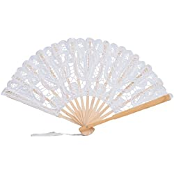The 1 For U Women's Cotton Lace Fan Black Ecru (White)