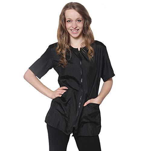 Salon Jacket Black 2 pockets zipper (x-small, Black)
