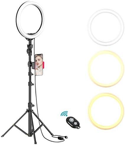 [해외]25.4cm 셀카링 라이트와 삼각대 스탠드 및 휴대폰 홀더 라이브 스트림메이크업 디머블 LED 카메라 뷰티 링라이트 유튜브 비디오사진 호환 아이폰과 안드로이드 폰용 (UPGRADED) / 10 Selfie Ring LightTripod Stand & Cell Phone Holder for Live St...