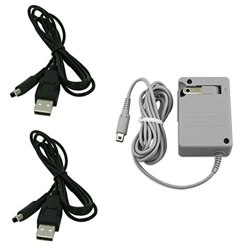 QKILL Replacement charger kit! AC Wall Plug Charger + 2 Pecs of USB Power Adapter Cables for Nintendo 3DS DSi XL