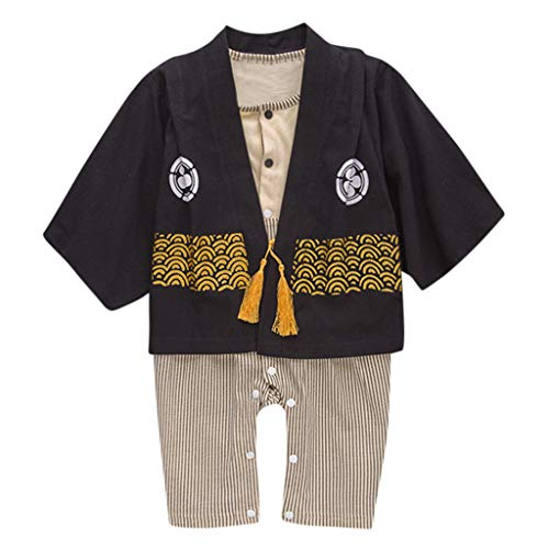 FEITONG Infant Baby Boys Striped Kimono Tops+Romper Outfits Set Japanese Clothes(Black,6-12M) ()
